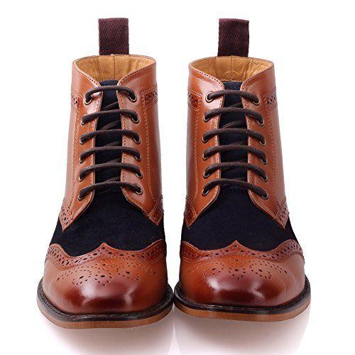 Unze Mens 'Bourne' Leather Boots Smart