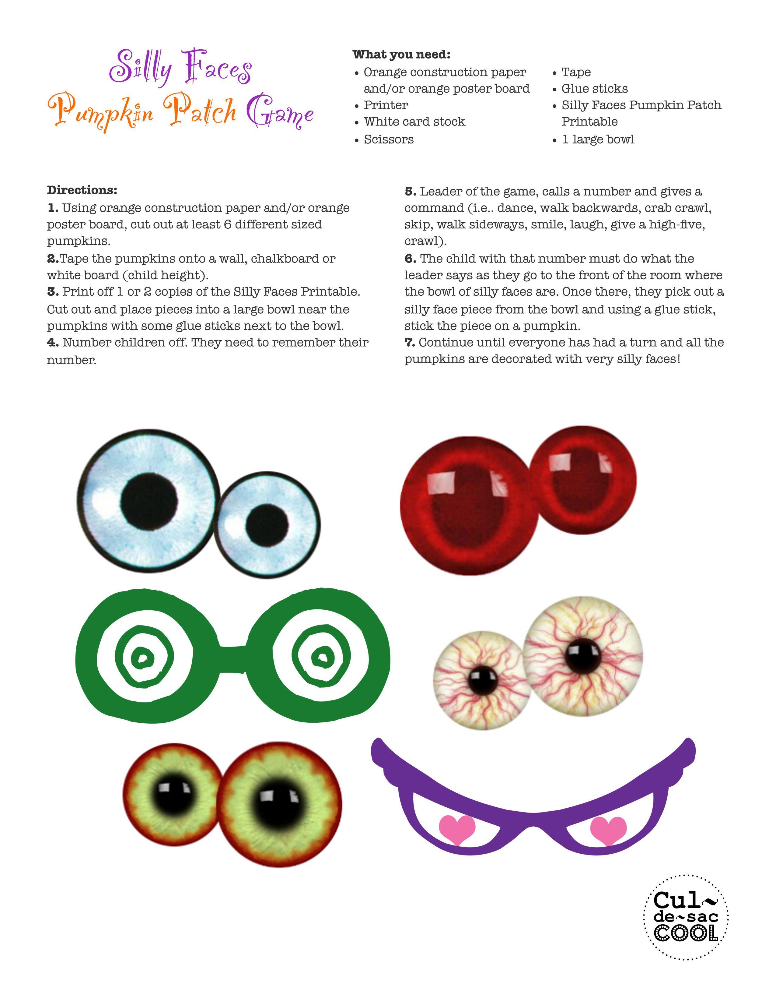 Silly Faces Pumpkin Patch Game | Halloween | Pinterest | Pumpkins ...