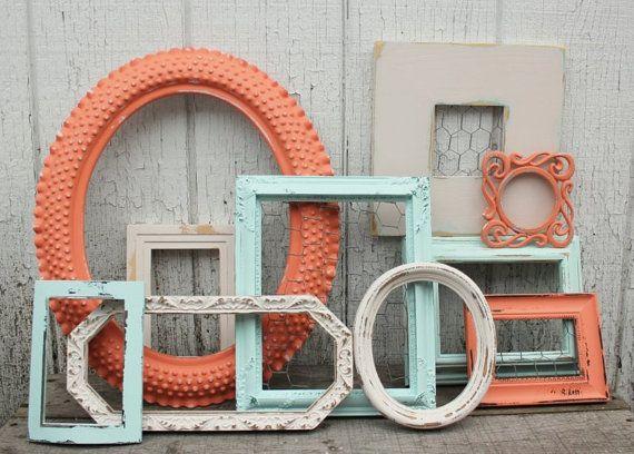 Set of 10 Open Frames - Coral, Aqua, Antique White Painted Frames ...