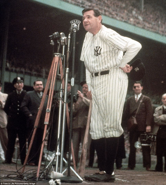 Babe Ruth In His Ny Yankee Uniform Rare Color Photo -1973