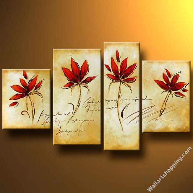 Contemporary Red Flower Canvas Wall Art Embellishment - Wall Art ...