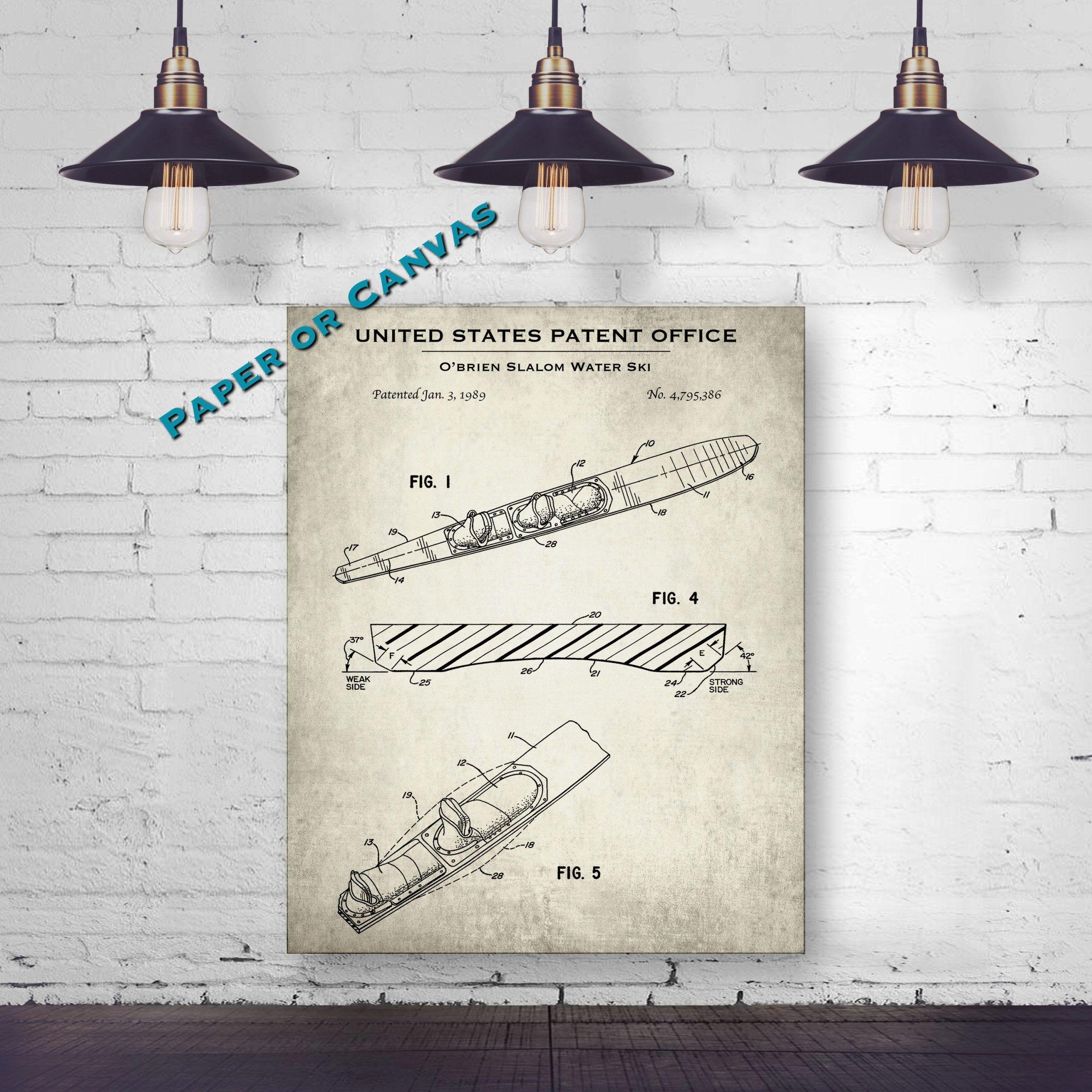 1989 O'brien Water Ski Patent Print#o39brien #patent #print #ski #water