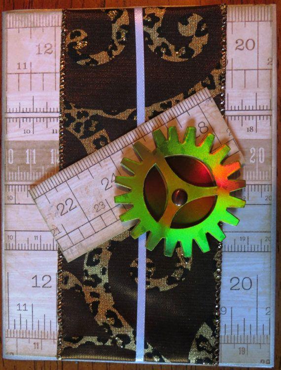 Greeting Card Blank Cog/Ruler Theme by foundcardsbylinnea on Etsy