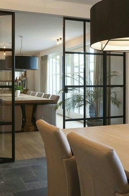 Overgang keuken-woonkamer deur | Black framed doors and windows ...