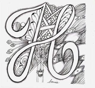 The Letter H Doodle Lettering Lettering Tangle Art