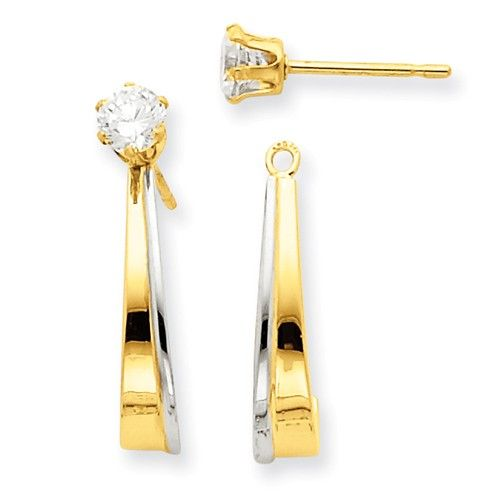 14k Two Tone Gold J Hoop Earring Jackets For Studs Ye1085