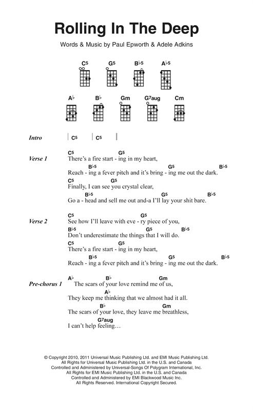 Image Result For Ukulele Lyrics And Chords Adele Ukulele