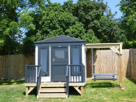 Childrens playhouse with swing seat