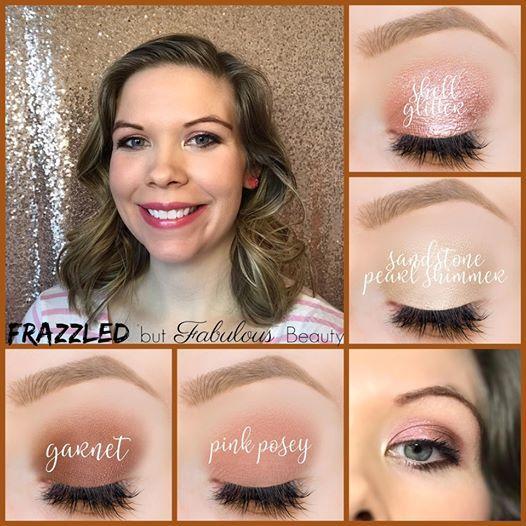 Frazzled but Fabulous  Beauty (Distributor Shell Glitter, Sandstone Pearl Shimmer, Garnet, Pink Posey ShadowSense     cream moisturizer