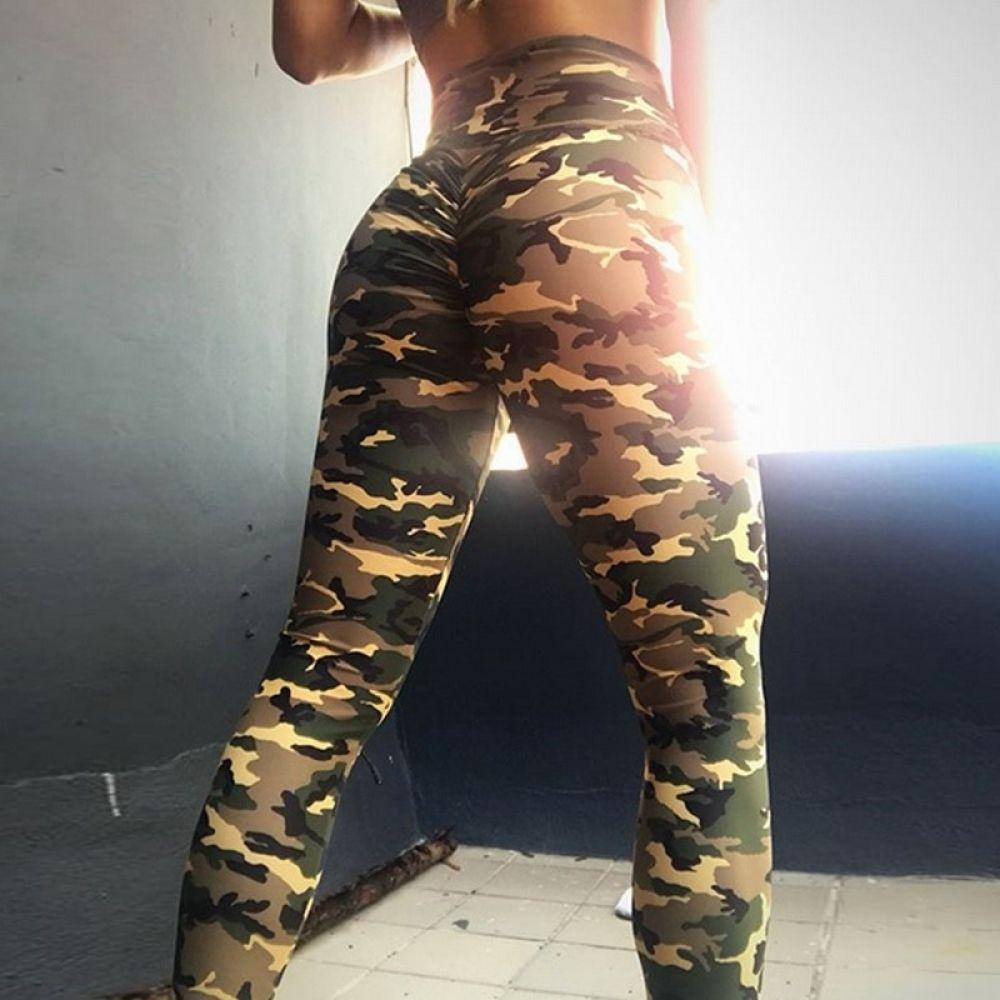 Womens Sports Yoga Leggings Yoga Fitness Pants Khaki Camouflage Printed Trousers
