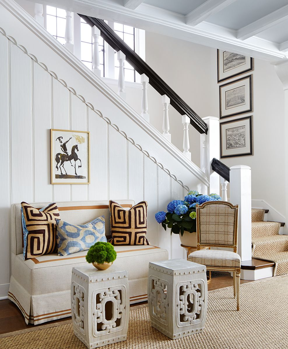 Love the bench with inset trim on back, seat & skirt | Slipcovers ...