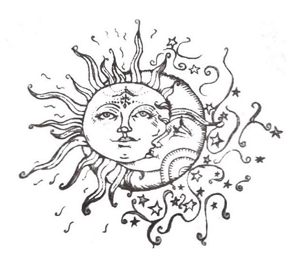 This Ivy House Sun And Moon Drawings Moon Drawing Moon Tattoo