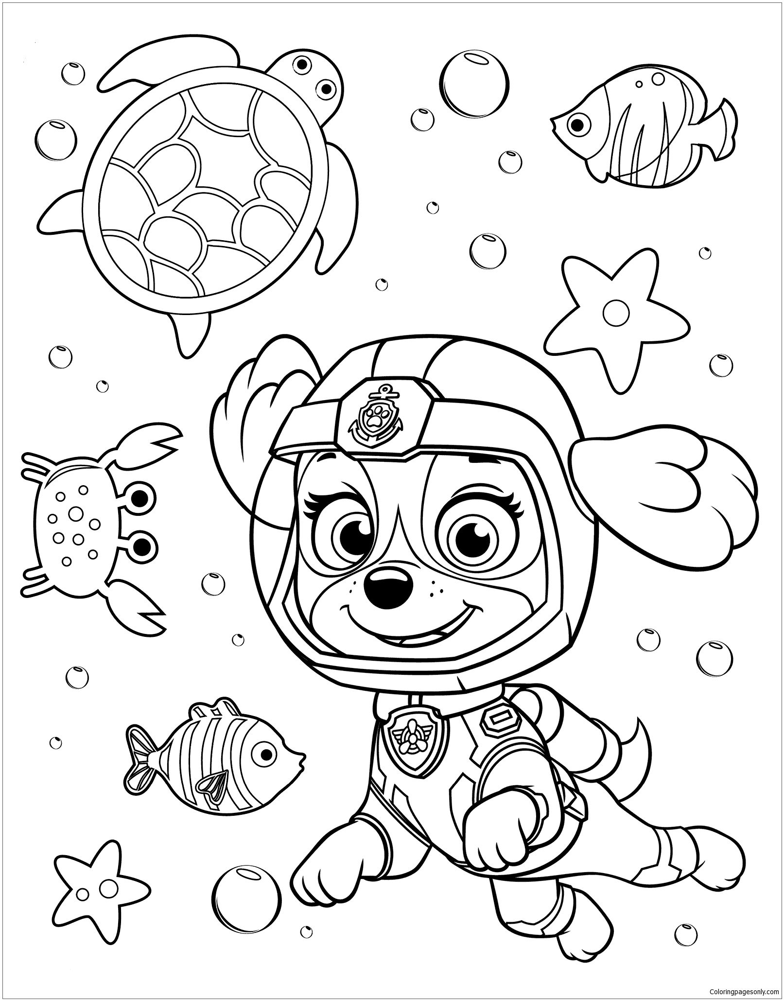Paw Patrol Rubble Underwater 2 Coloring Page Paw Patrol Coloring