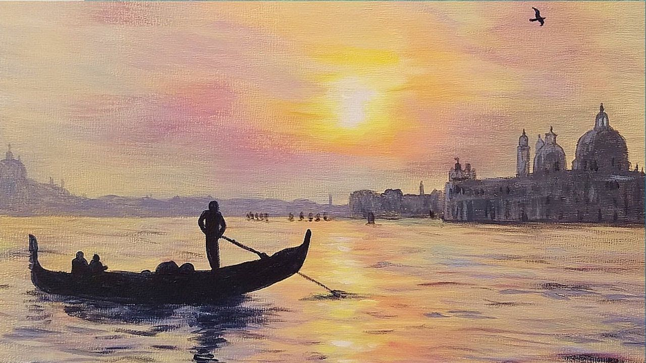 Venice Sunset Step By Step Acrylic Painting Tutorial For