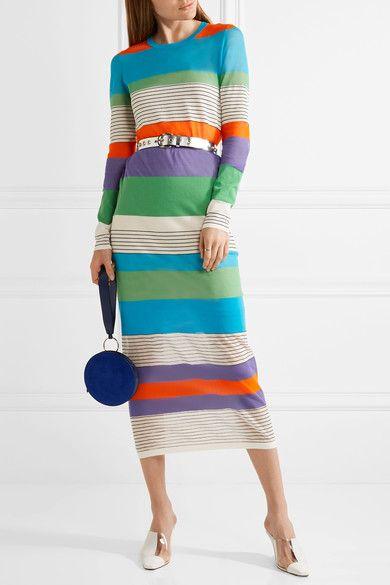 Striped Stretch Cotton-blend Midi Dress - Blue Diane Von Fürstenberg Buy Cheap 2018 New CMvbtpqIt