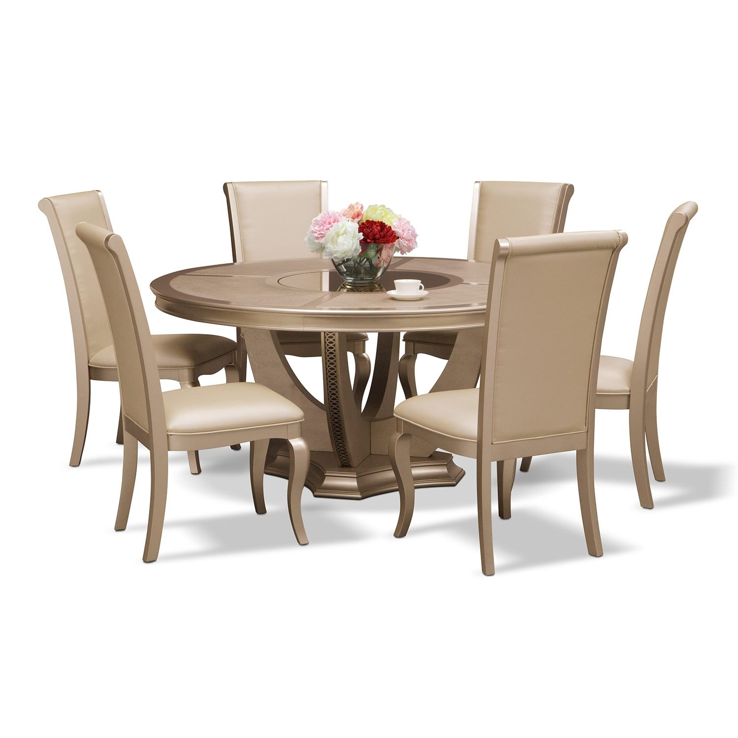 Allegro 7 Pc Dining Room Kitchen Dining Furniture Round Dining Room Dining Chairs