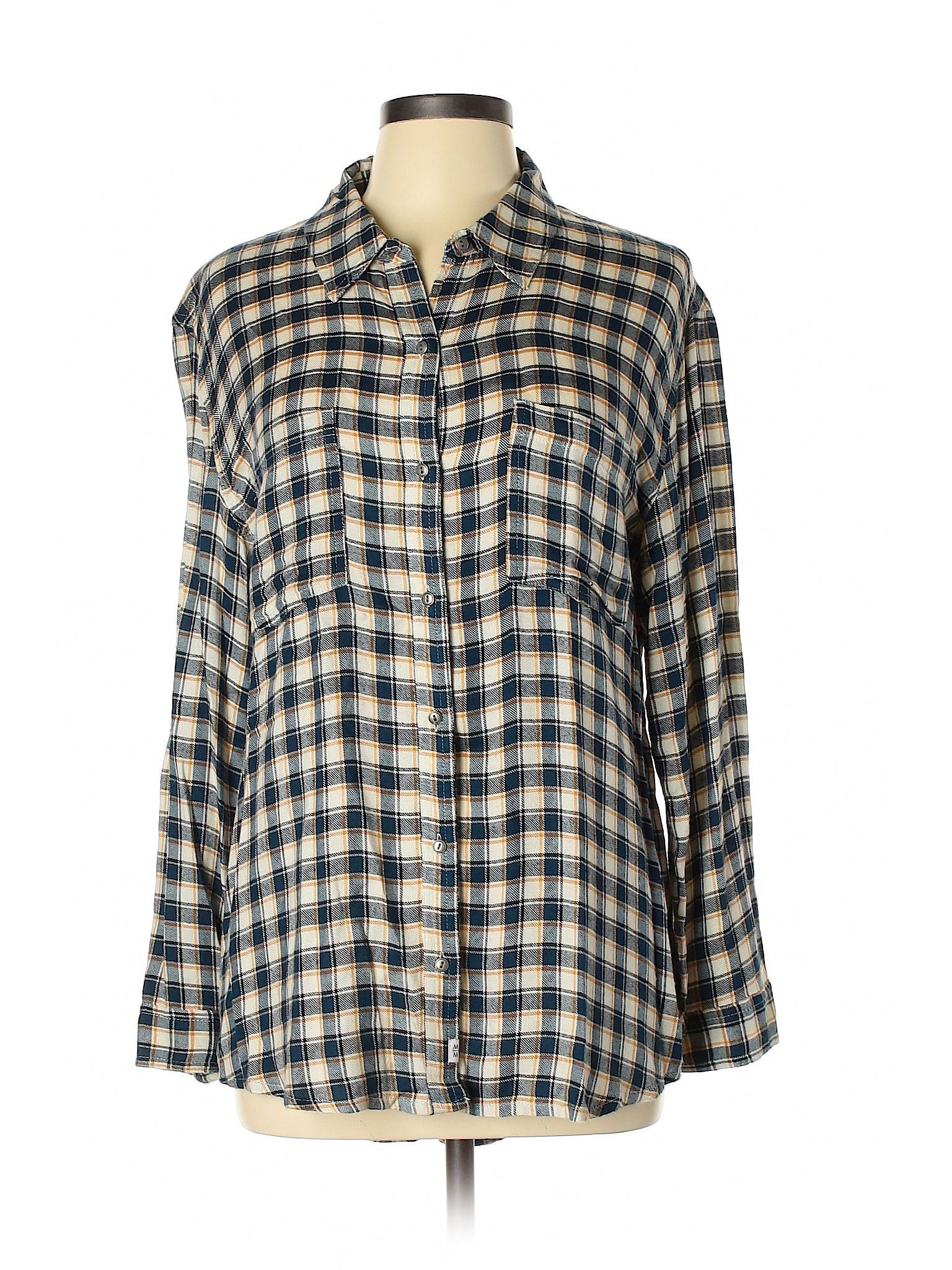 Melrose And Market Long Sleeve Button Down Shirt Ivory Plaid Women S Tops Size Medium Clothes Second Hand Clothes Clothes For Women