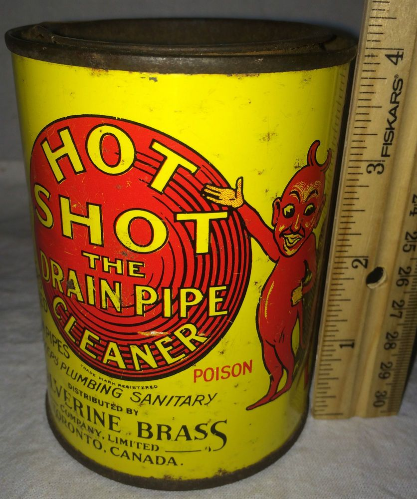 antique hot shot drain pipe cleaner red devil graphic plumbing poison tin litho