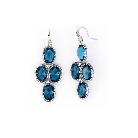 Tacori 18k925 18k Yellow Gold Sterling Silver London Blue Topaz Chandelier Earrings