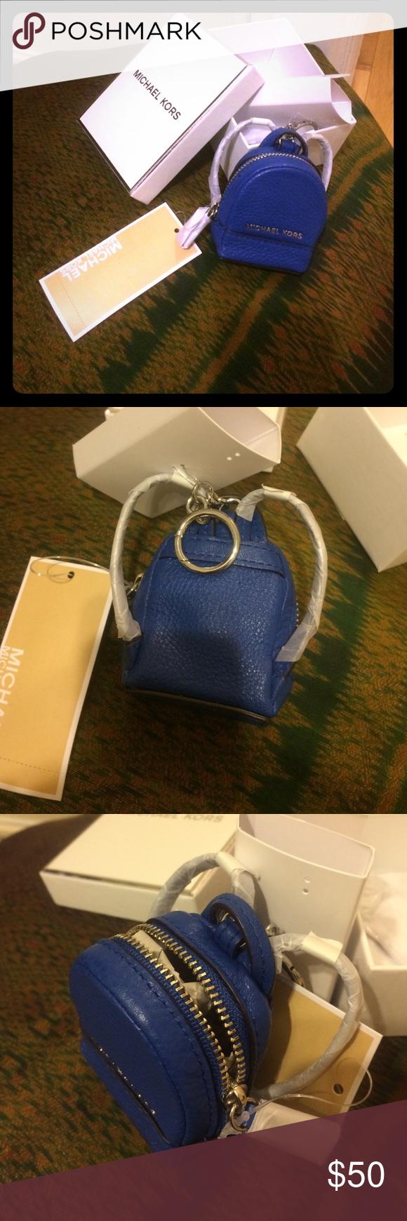 MICHAEL KORS .. keychain/coin purse BRAND NEW... blue Michael kors mini backpack keychain.. perfect for coins KORS Michael Kors Bags Mini Bags