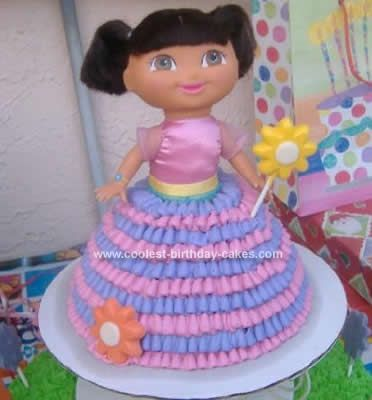 Coolest Homemade 3D Pink and Purple Dora the Explorer Cake Cake