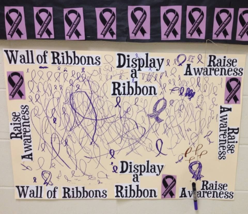wall of ribbons- rvhs- domestic violence awareness month | bulletin