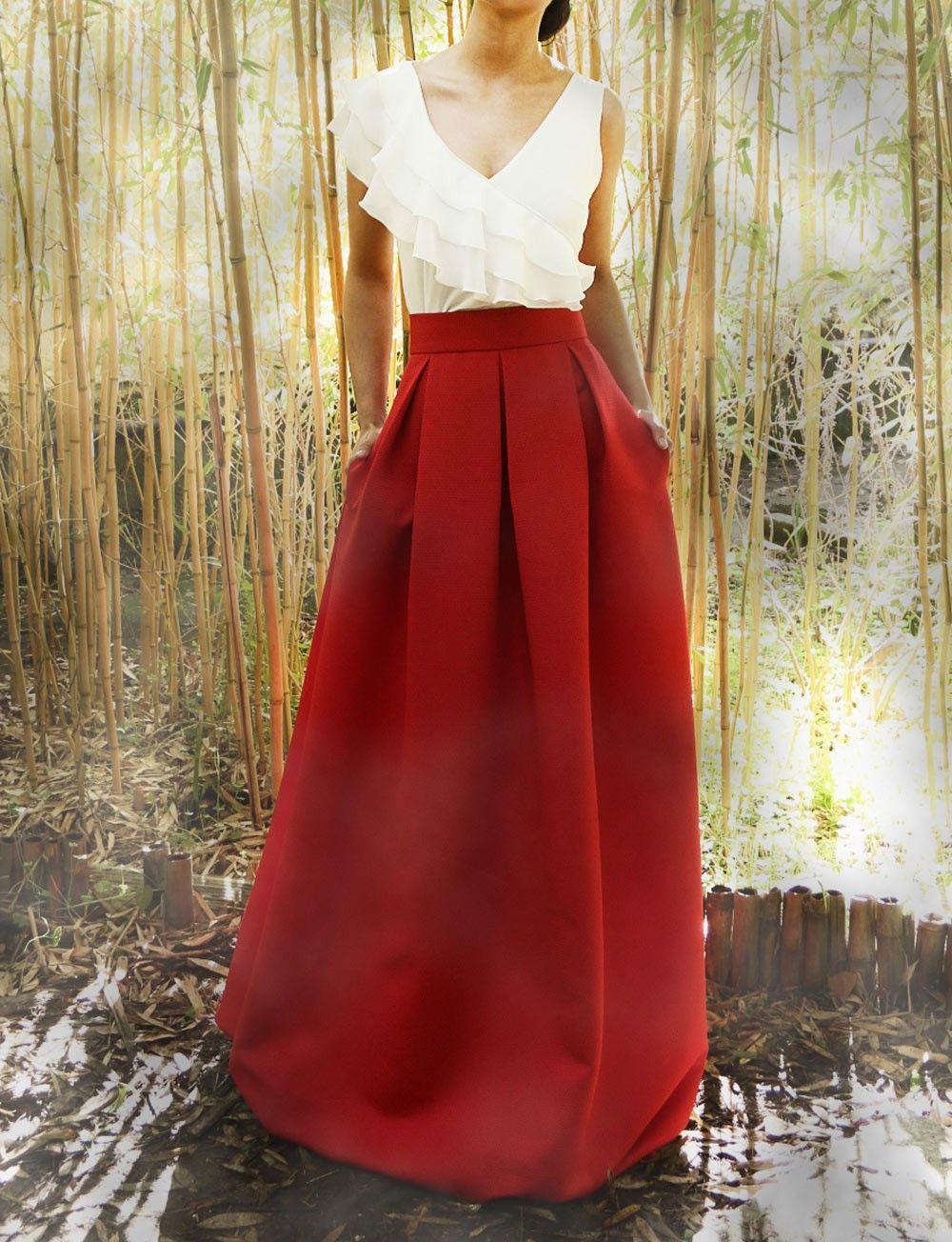 I ❤ COLOR BLANCO + ROJO ♡ Falda larga plisada para boda Aran Arimoka c6b196dacda1