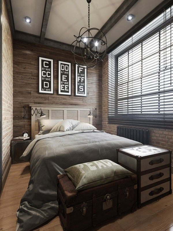 I love the combination of wood paneling and brick sleek and urban yet comfortable · small bedroom interiorapartment