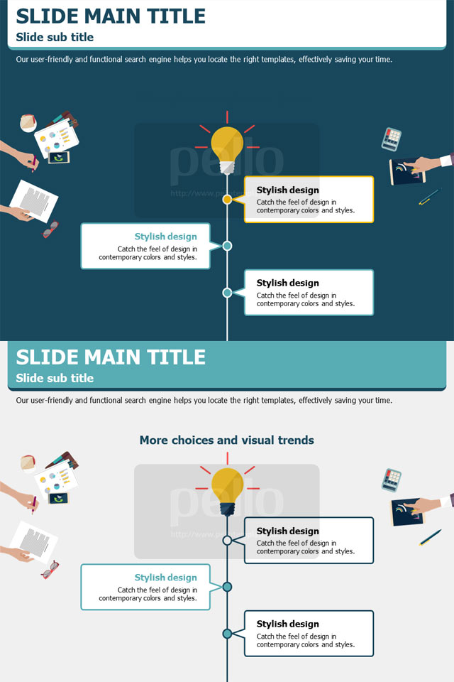 Pitch in a new business idea or proposal in this modern and pitch in a new business idea or proposal in this modern and minimalist powerpoint template with miniature work desk illustrations flashek Images