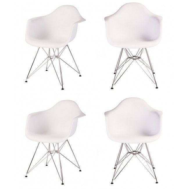 Contemporary Retro Molded Eames Style White Accent Plastic Dining Armchair with Steel Eiffel Legs (Set of 4) (White Plastic Armhair With Steel Eiffel Legs)