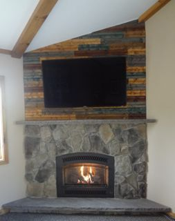 Our New Fireplace We Used Keda Dye On Tongue And Groove Pine Planks For The Accent Wall Above The Mantle Accent Wall Fireplace Home Improvement