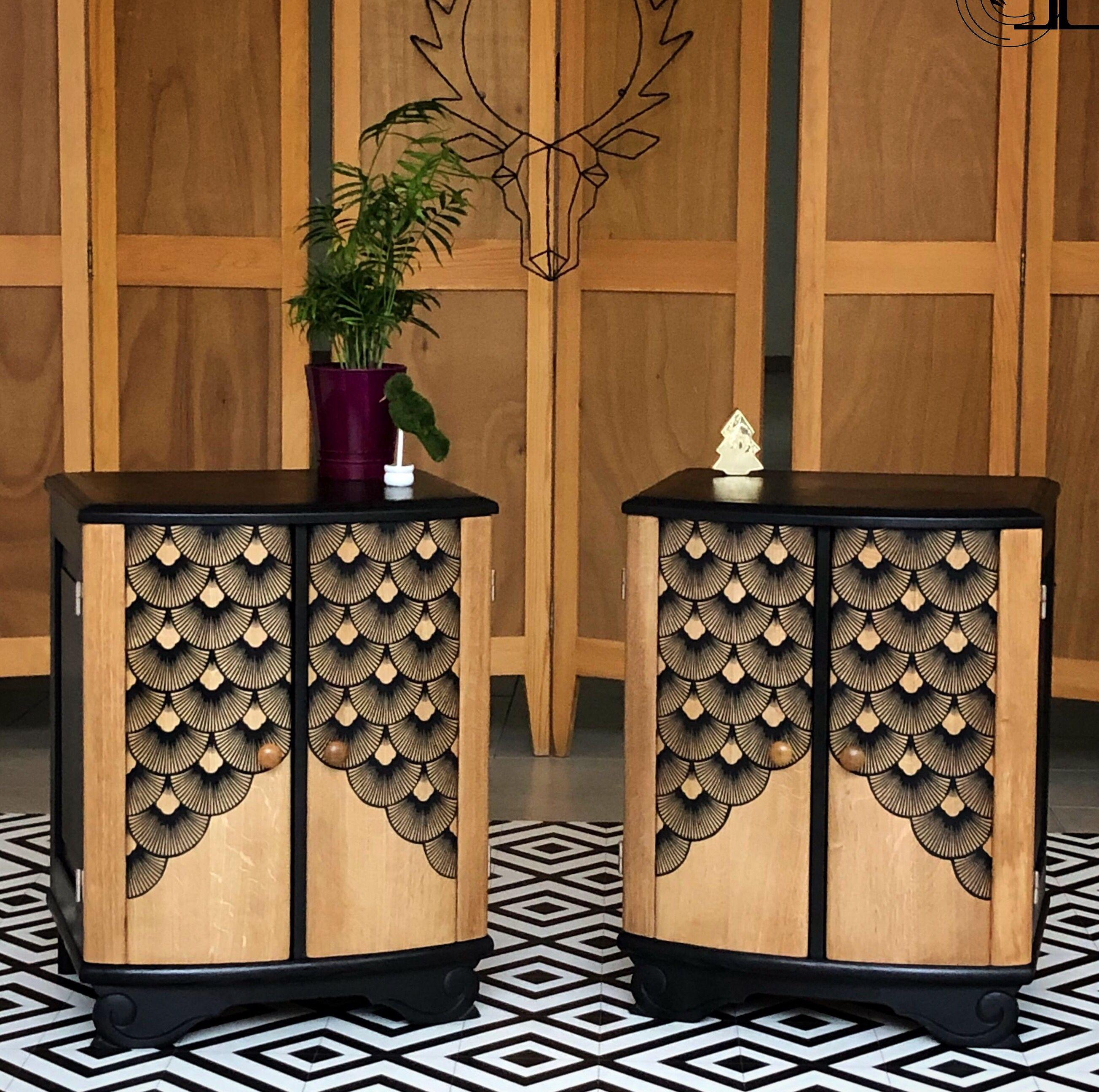 Paire De Chevets Seigaiha Meubles Art Deco Mobilier De Salon Interieur Art Deco