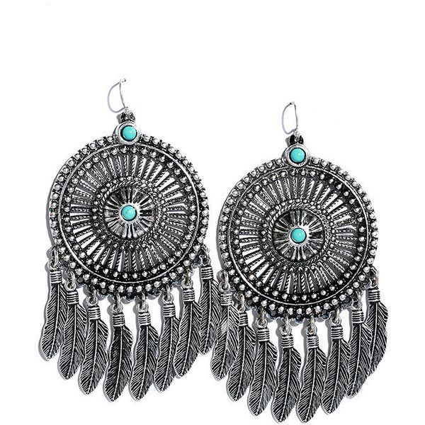Vision of Victory Turquoise and Silver Earrings (£6.12) ❤ liked on Polyvore featuring jewelry, earrings, silver, turquoise dangle earrings, dangle earrings, silver earrings, silver circle earrings and feather earrings