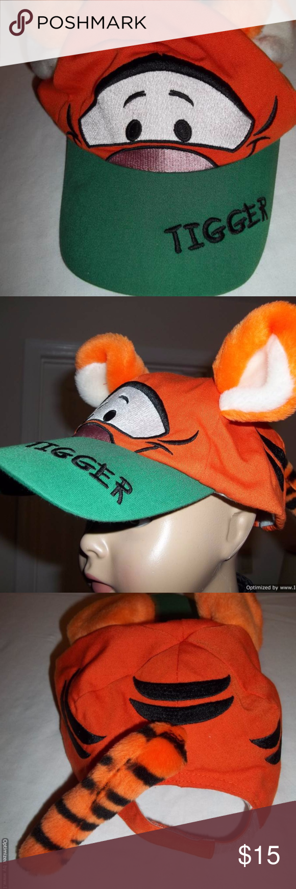 473ddb1998e Winnie The Pooh Tigger Toddler Plush Hat-Disney Tigger from Winnie the Pooh-Plush  Hat. This hat has Tiggers  face on the front and on the green brim is ...