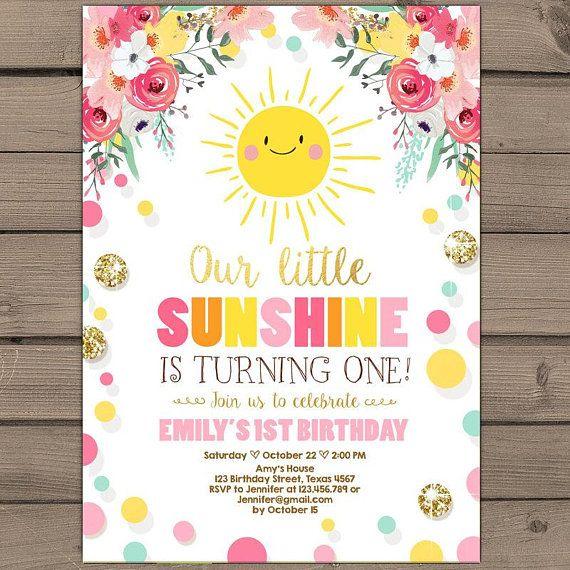 Sunshine Birthday Party Invite Sunshine Lemonade First Birthday Invite You Are My Sunshine Sunshine Birthday Parties Sunshine Birthday Sunshine First Birthday