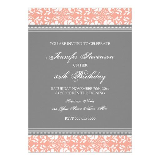 Gray damask 35th birthday party invitations 30th birthday ideas gray damask 35th birthday party invitations filmwisefo