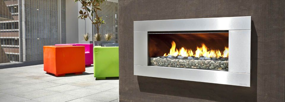 Escea Outdoor Ef5000 Gas Fireplace On The Roof Top With Colourful Outdoor Gas Fireplace Fireplace Outdoor Gas Fireplace