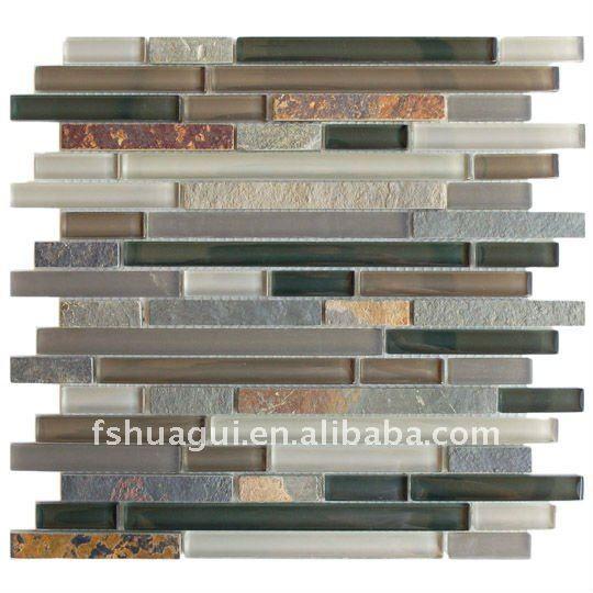 Slate Tile Backsplash Crystal Glass Mix Slate Backsplash