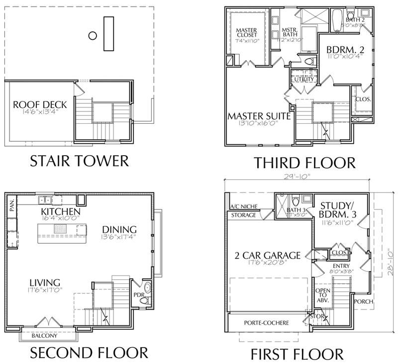 3 1 2 Story Townhouse Plan E5172 A1 1 Townhouse Townhouse Designs 20x40 House Plans