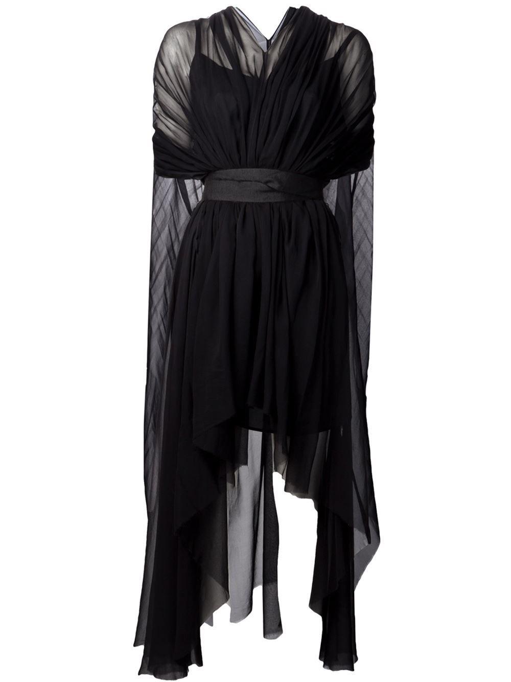 Louiza babouryan waterfall cape dress farfetch clothing