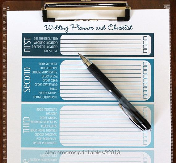The Wedding Planning Kit ombre aqua 8 by CleanMamaPrintables