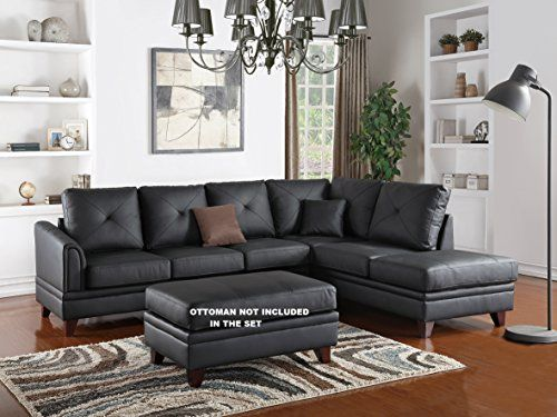 Cargan 2 Pieces Sectional Sofa Set Upholstered In Genuine Black Leather Sectional Sofa Couch Sectional Sofa Leather Sectional