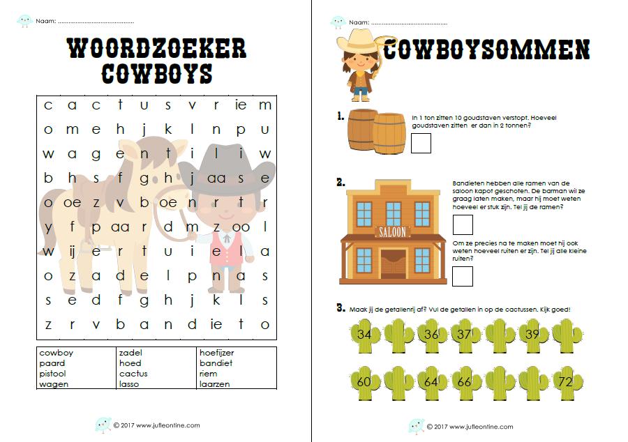 Bij het thema cowboys voor groep 3 heb ik een woordzoeker ...