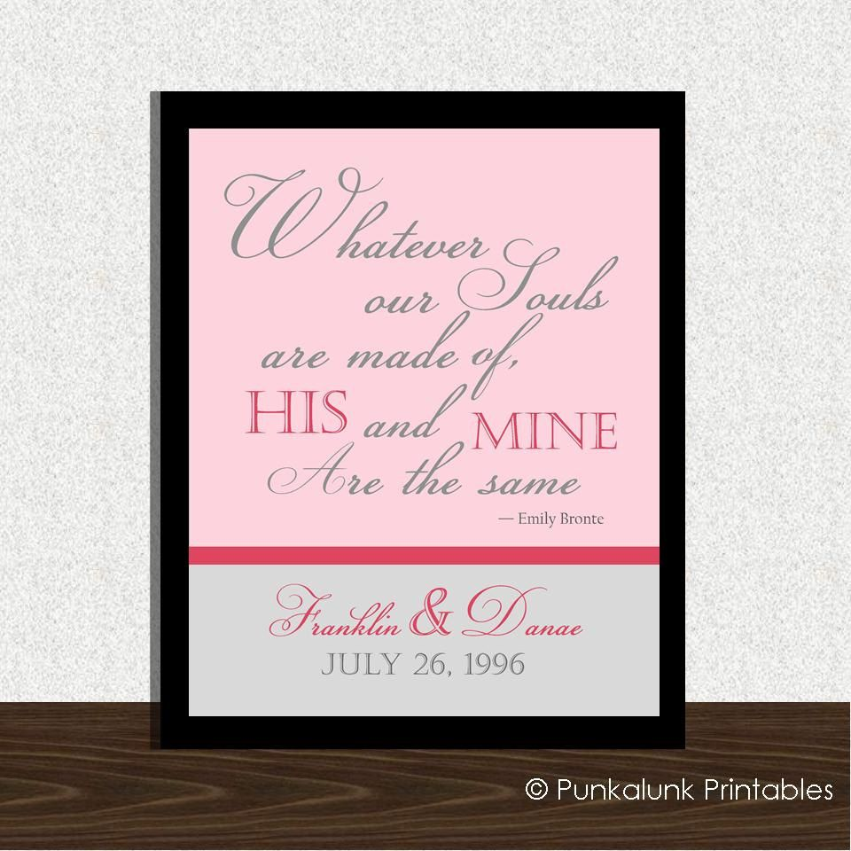 Personalized Emily Bronte Quote Art Print - Wedding Decor ...