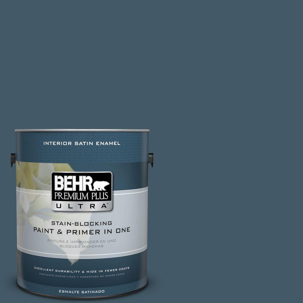 BEHR Premium Plus Ultra 1-gal. #S480-7 Midnight in the Tropics Satin Enamel Interior Paint