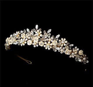 Gold Champagne Bridal Tiara Adds An Elegant Touch Flowers Pearls And Swarovski Crystal Detailing Makes This A Stunning Piece