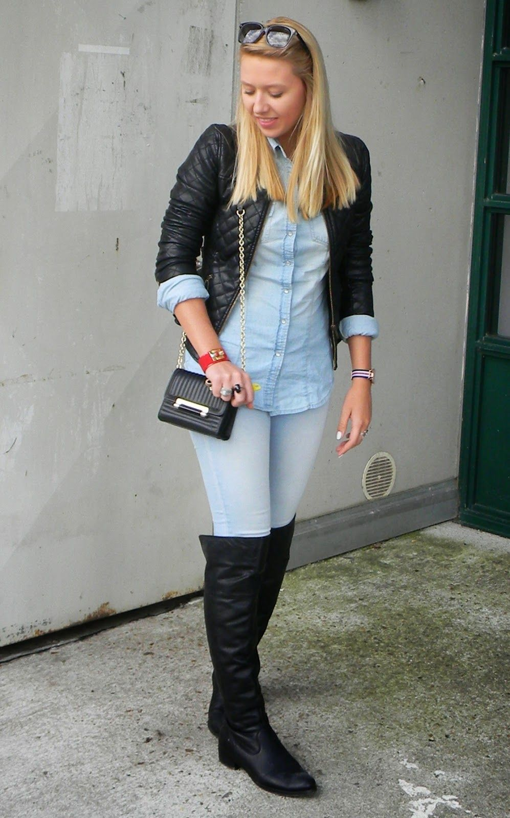 Womenu0026#39;s Black Leather Jacket Light Blue Denim Shirt ...