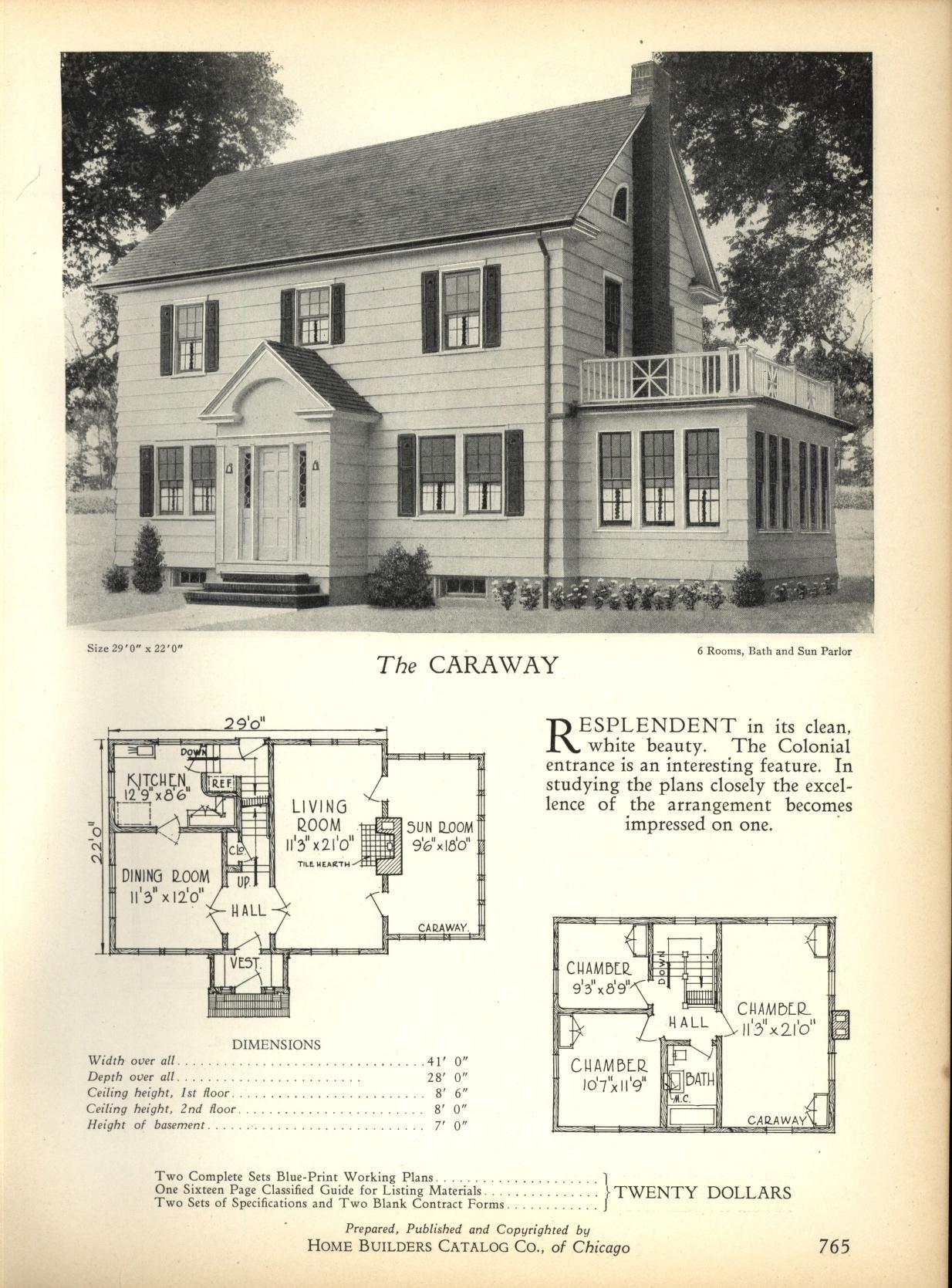 The caraway home builders catalog plans of all types of small homes by home builders catalog co published 1928