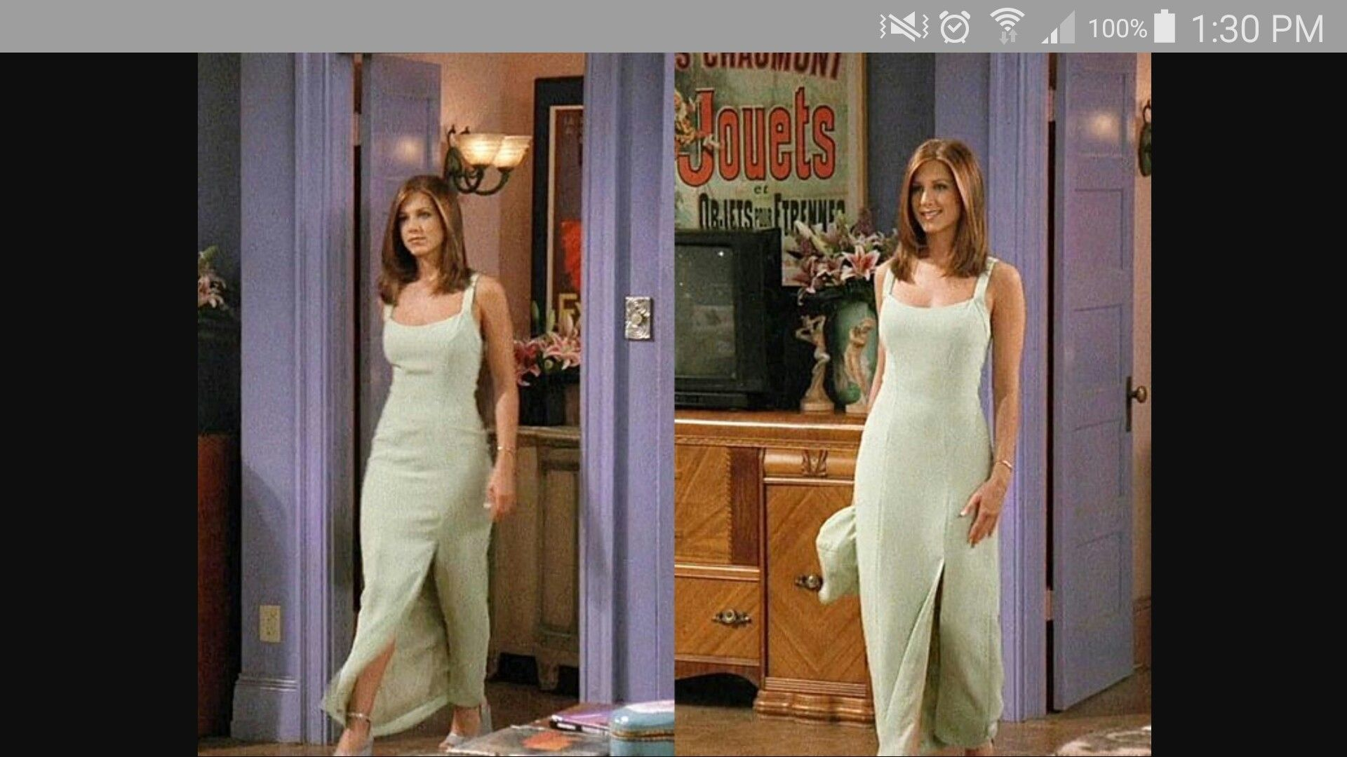 Racheal S Mint Green Dress From Friends Rachel Green Outfits 90s Fashion Outfits 90s Inspired Outfits [ 1080 x 1920 Pixel ]