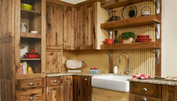 Hickory Kitchen Cabinets Kitchen Mediterranean With Accent Tile Backsplash Bin Sustainable L Rustic Kitchen Cabinets Kitchen Cabinets Decor Hickory Cabinets